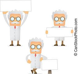 divertente, scienziato, bandiera, cartone animato, vuoto
