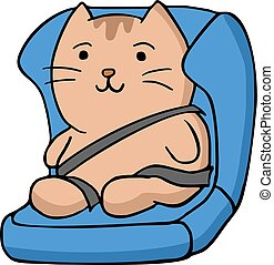 divertente, sedia, assicurare, gatto