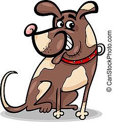 divertente, seduta, cartone animato, illustrazione, cane