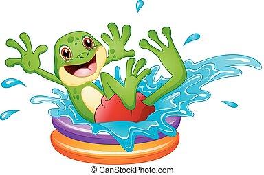 divertente, seduta, gonfiabile, rana, acqua, schizzo, sopra, cartone animato, stagno