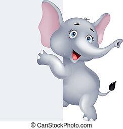 divertente, segno, elefante, vuoto