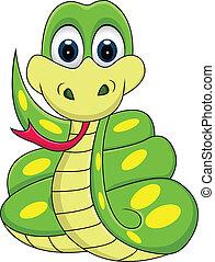 divertente, serpente, cartone animato
