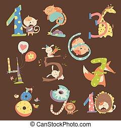 divertente, set, animali, anniversario, compleanno, numeri