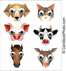 divertente, set, animali, fattoria, illustrazione, origami