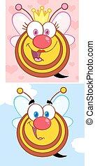 divertente, set, bees., collezione