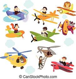 divertente, set, carino, piani, cartone animato, pilots.