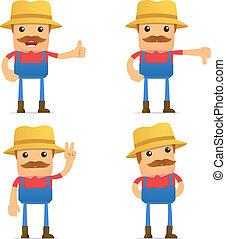 divertente, set, cartone animato, contadino