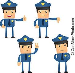 divertente, set, cartone animato, poliziotto