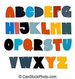 divertente, set, colorito, alfabeto, isolato, fondo, bianco
