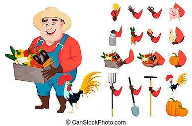 divertente, set, creazione, carattere, cartone animato, giardiniere, uomo