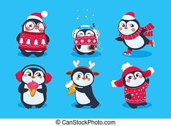 divertente, set, inverno, carino, neve, pinguini, isolato, penguin., animali, vettore, caratteri, hat., bambino, cartone animato, natale
