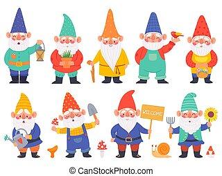 divertente, set, irrigazione, cartone animato, lanterna, dwarfs, gnomo, adorabile, vettore, giardino, characters., fiori, decorazione, lattina, barba, carino, gnomi