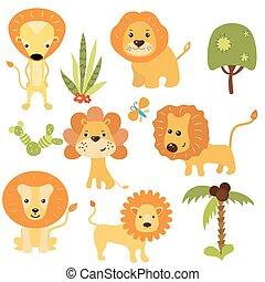 divertente, set, leoni