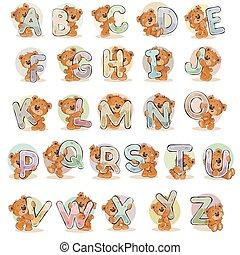 divertente, set, lettere, teddy, alfabeto, orso, vettore, inglese