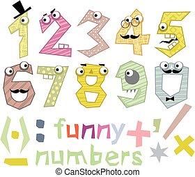 divertente, set, numeri
