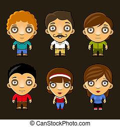 divertente, set, persone., characters., vettore, cartone animato