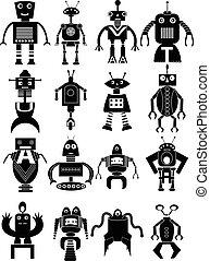 divertente, set, robot, icone