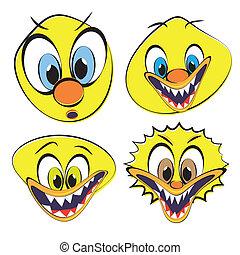 divertente, set, smileys, brutto