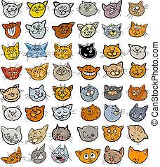 divertente, set, teste, gatti grandi, cartone animato