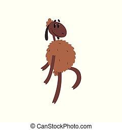 divertente, sheep, carattere, camminare, su, due, gambe, cartone animato, vettore, illustrazione