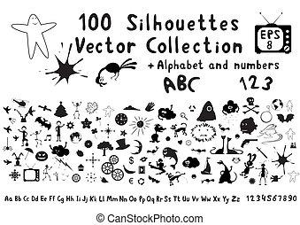 divertente, silhouette, 100, cartone animato
