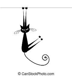 divertente, silhouette, gatto, nero, disegno, tuo