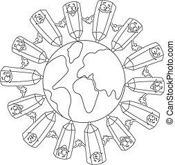 divertente, simbolo, terra, delineato, matite