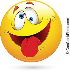 divertente, smiley fronteggiano, vettore, lingua fuori