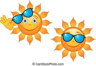 divertente, sole, in, occhiali da sole