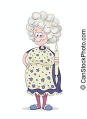 divertente, sorridente, nonna, con, capelli grigi, in, uno, vestito viola, e, fiorito, cover-slut, con, uno, matterello, in, lei, mano