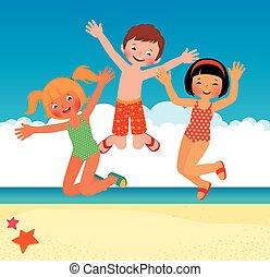 divertente, spiaggia, bambini