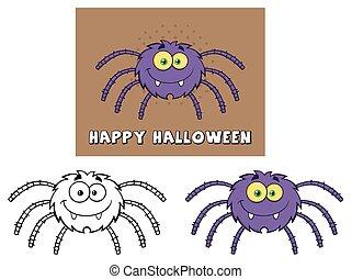 divertente, spider., set, collezione