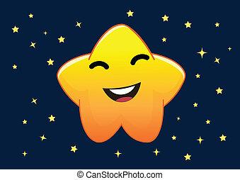 divertente, stella, carattere, illustrazione, vettore, cartone animato