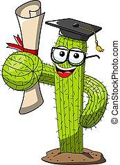 divertente, successo, grado, carattere, isolato, vettore, laureato, cactus, cartone animato