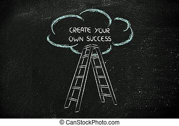 divertente, successo, scala, motivazionale, scrittura, ...