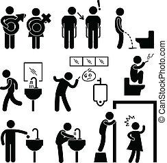 divertente, toletta pubblica, icona, pictogram