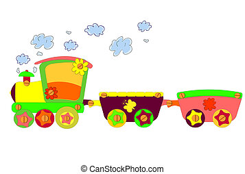 divertente, treno, vettore