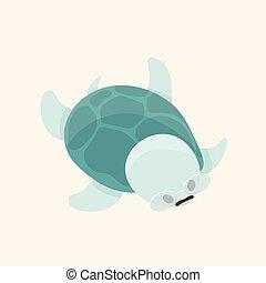 divertente, turtle., carino, felice