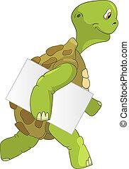 divertente, turtle., courier.