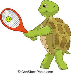 divertente, turtle., player., tennis