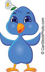 divertente, uccello azzurro