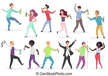divertente, uomini, bottiglie, alcool, persone, isolated., set., ubriaco, donne, bibite