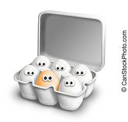 divertente, uova, cartone, uovo, cartone animato