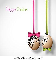 divertente, uova pasqua, con, uno, arco