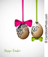divertente, uova pasqua, -, pasqua felice, scheda