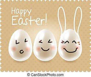 divertente, uova pasqua, sciocchezze intorno, caratteri