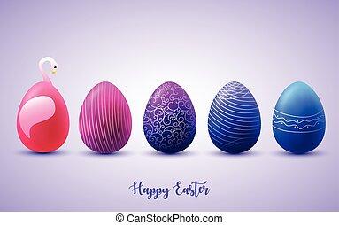 divertente, uova pasqua, su, soleggiato, fondo