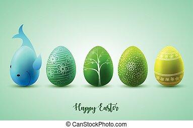 divertente, uova, soleggiato, sfondo verde, pasqua