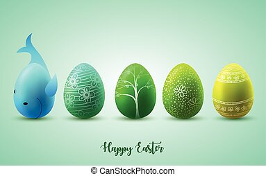 DIVERTENTE, uova, soleggiato, verde, fondo, pasqua