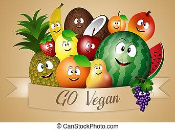 divertente, vegan, dieta, frutte